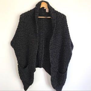 DKNY Open Cardigan Shawl Shrug Cape Poncho Knit M